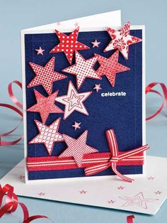 handmade card for the 4th of July - Invitation/Card!   ... full of punched stars in red and white ...
