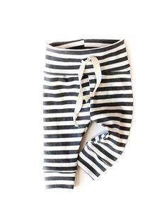 Organic Drawstring Baby Leggings Black Stripes