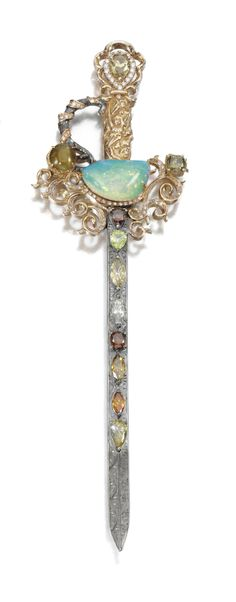 Opal and diamond brooch designed as a sword set with a half-moon shaped opal, cat's-eye chrysoberyl, pear- and marquise-shaped, and brilliant-cut diamonds of various tints, signed Young 2009. Sothebys London Fine Jewels
