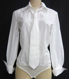 JEAN PAUL GAULTIER Femme - White Cotton Shirt/ Body Suit