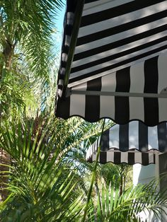 awnings over upstairs windows House Front, My House, The Atlantic Byron Bay, Fresco, Outdoor Spaces, Outdoor Living, Canvas Awnings, Window Awnings, Black And White Canvas