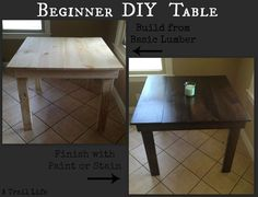 A DIY table that is easy enough for a beginner builder, with step-by-step instructions!