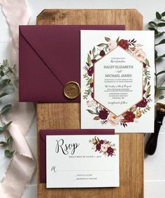 Marsala Floral Wedding Invitation Set For Bohemian Wedding - Cards - # B . Marsala Floral Wedding Invitation Set for Bohemian Wedding - Cards -# BOHEMIAN Burgundy And Blush Wedding, Burgundy Wedding Invitations, Diy Invitations, Elegant Wedding Invitations, Floral Wedding Invitations, Wedding Invitation Cards, Wedding Stationery, Invitation Ideas, Wedding Favors