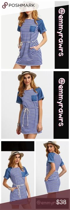 The CELINE Striped Blue Roped Belt Super cute and simple blue and white striped dress. Features a rope belt. NWOT Material: cotton blend Dresses Midi