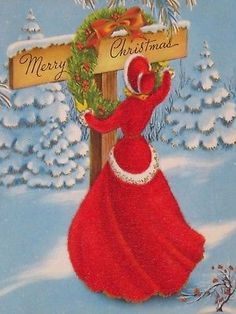 Vintage Christmas Card Pretty Girl Flocked Fur Red Dress & Hat Hanging Wreath