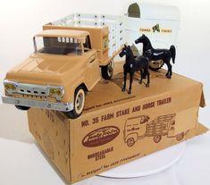 Vintage Tonka 1959 35 Farm Stake with Horse Trailer with Box Antique Toys, Vintage Toys, Vintage Metal, Minnesota, 1980 Toys, Childhood Toys, Childhood Memories, Tonka Toys, Metal Toys