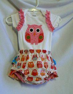 Baby Clothes Girl Owl Applique Onesie Ruffle
