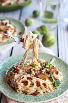 Caramelized Brussels Sprouts and Bacon Fettuccine Alfredo recipe