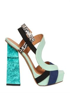 aperlai sandals | Aperlai Suede Leather Elasticated Platform Sandals with Blue and White ...