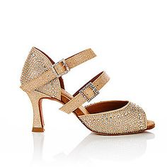 Fiorella Nude glitter canvas with diamonte detail and leather lining by Vivaz Dance. RRP $149