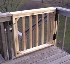 Gallery of Deck gate design pictures, videos, and product prices. Porch Gate, Deck Gate, Deck Railings, Stair Gate, Gate Design, Tor Design, Deck Design, Deck Building Plans, Deck Plans