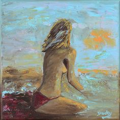"""""""Topless Beach"""" 10x10in by Donna """"Blacky"""" Blackhall. Original in Private Collection"""