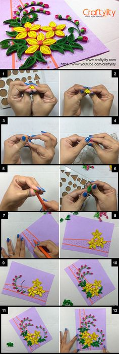 Find More such Beautiful Quilling Card instru - Quilling Paper Crafts Quilling Videos, Arte Quilling, Quilling Jewelry, Quilling Paper Craft, Quilling Techniques, Paper Crafts, Quilling Birthday Cards, Paper Quilling Cards, Origami And Quilling