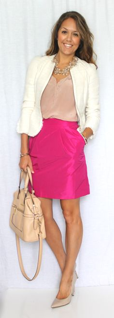 Pink Boucle — Js Everyday Fashion | I'm not usually a fan of wearing pink, but I like this. Maybe because the neutrals bring it down a notch.