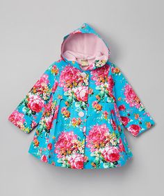 Another great find on #zulily! Blue Floral Hood Swing Coat - Toddler & Girls #zulilyfinds