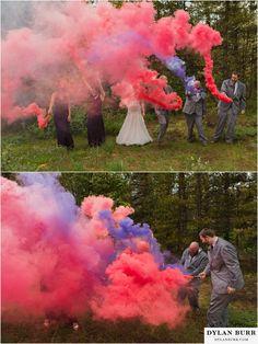 silverlake lodge wedding idaho springs colorado fun bridal party photos smoke bombs