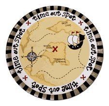 """Kids Time Out Mat Behavior Rug Pirate Treasure by Pink Alley. $22.99. Brand new canvas Time Out mat for kids. A colorful and imaginative patterns designate a clear boundary for your child when it's time for """"Time-Out.""""  Made of sturdy canvas with rubber backing. 25"""" diameter."""