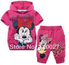 2014 boy girl Thomas Minnie clothing sets blue hot pink t shirt + pants baby casual suits summer clothes 6pcs sport tracksuit $68.76