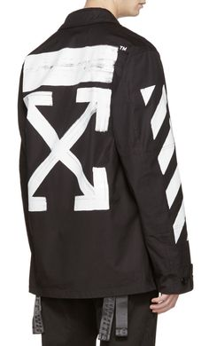 Off-White Black Brushed Diagonal Field Jacket from SSENSE (men, style, fashion, clothing, shopping, recommendations, stylish, menswear, male, streetstyle, inspo, outfit, fall, winter, spring, summer, personal)