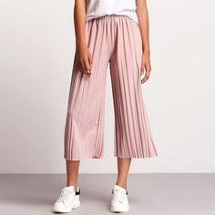 Pantalón+cintura+elástica+plisado+-rosa+16.67