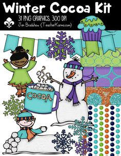 Winter Cocoa Christmas Clipart Kit.  Perfect for TpT holiday products and classroom teachers.  Commercial and personal use is ok.  TeacherKarma.com