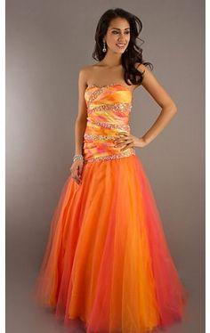 Long Strapless Print Ball Gown PT-6780