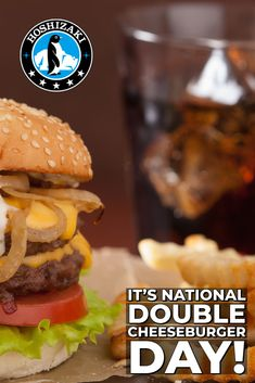 It's National Double Cheeseburger Day! Treat yourself and wash it down with a beverage chilled with Hoshizaki Ice. #Hoshizaki #HoshizakiAmerica #DoubleCheeseburgerDay #HoshizakiIce #SquareIce #PerfectIce #BestIceMachines Restaurant Equipment, Beverages, Ice, Treats, Make It Yourself, Ethnic Recipes, Food, Commercial Restaurant Equipment, Sweet Like Candy