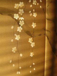 Detail: Japanese blossom painting on silk screen by Timna woollard Studio