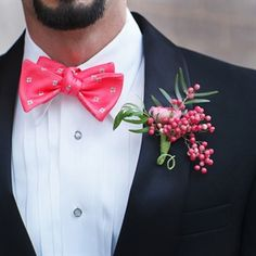 Awesome Boutonniere Of Pink Ranunculus, Pink Pepperberries, & Green Foliage·····