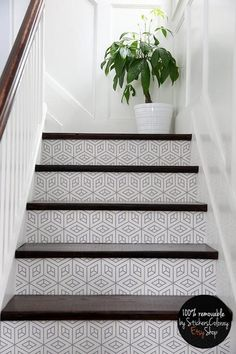 Home Remodeling Stairs 10 step stair riser decal op art cube stair sticker Tile Stairs, Basement Stairs, House Stairs, Tiled Staircase, Entry Stairs, Black Staircase, Garage Stairs, Flooring For Stairs, Cool Ideas