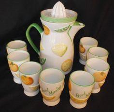 "Vintage Juice Pitcher with Reamer-8 Glasses Ceramic ""Good Morning"" Mint - 1350"