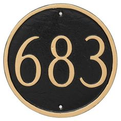 Montague Metal 6.5 in. Round Address Sign Wall Plaque - PCS-0001P1-W-SIS