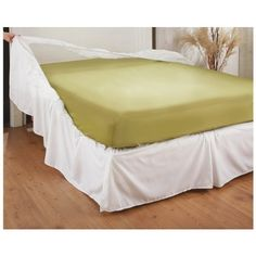 "Easy - on Bed Skirt, ECRU, FULL by TAILOR FIT. $16.99. Easy - on Bed Skirt hides your bed frame and box spring with gorgeous tailored linen! Slips on a bed in a snap to upgrade and update your decor! Choose from White or Ecru coloring on the flowing Easy-on Bed Skirt... it's sewn to a sackette with elastic edges that pull taut around each corner of your box spring to keep it from sliding around. Drops 18"" to ensure both the box spring and bed frame are hidden from view! Hav..."