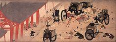 Heiji Monogatari Emaki (illustrated handscroll of stories about the Heiji Civil War): Scroll of Shinzei Important Cultural Property Kamakura period, century Handscroll, color on paper.