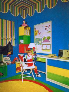 Seuse style kids room, blue, red yellow and green 1 Colorful Playroom, Vintage Interior Design, Playroom Organization, Play Centre, Vintage Room, Retro Home Decor, Room Inspiration, Kids Room, Kids Fashion