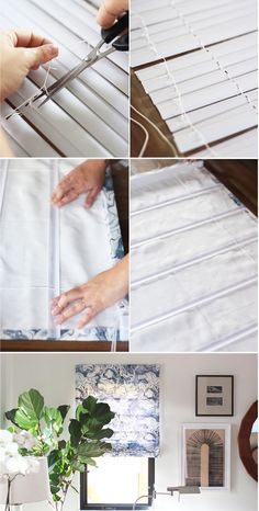 7 Adorable Hacks: Roman Blinds Curtain blinds for windows with curtains.Window Blinds Blue blinds for windows with curtains. Diy Hacks, Home Hacks, Vinyl Mini Blinds, Roman Shade Tutorial, Diy Roman Shades, Diy Window Shades, Fabric Roman Shades, Sewing Projects, Diy Projects