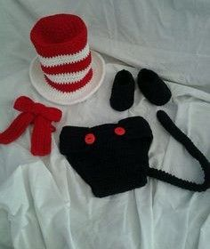 "Crocheted ""Cat in the Hat"" inspired Baby Hat, Neck tie, and Diaper Cover Photo…"