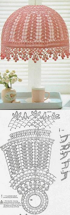 Crochet lampshade in pink. Crochet Motifs, Thread Crochet, Love Crochet, Irish Crochet, Crochet Doilies, Crochet Lace, Crochet Stitches, Crochet Patterns, Knitting Patterns