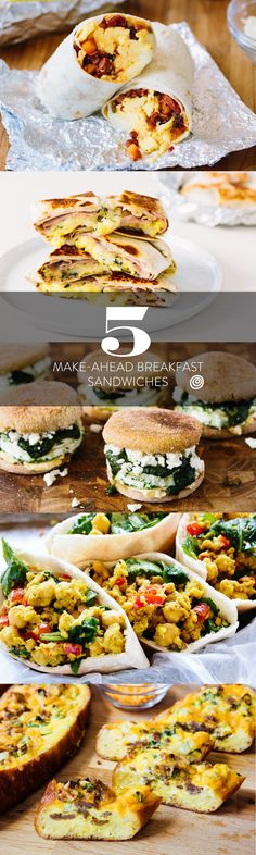 5 Make-Ahead Breakfast Sandwiches to Stock Your Freezer. Just reheat one of these frozen protein rich meals and stay full until lunch. It's EASY to make a big batch at once! Reheat in the toaster oven and pack a breakfast to take to work. Healthy and vegan scrambled chickpea pitas, copycat taco bell breakfast crunchwrap, sausage egg and cheese bread boats, spinach & feta egg white sandwiches and chorizo burritos. DELICIOUS!
