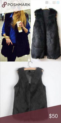 Black Fur Vest brand new.. has tags Jackets & Coats Vests