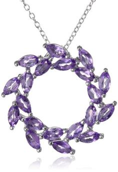 """Sterling Silver Amethyst Leaf Design Circle Pendant Necklace, 18"""" Amazon Curated Collection,http://www.amazon.com/dp/B0016L3JA0/ref=cm_sw_r_pi_dp_fXmktb0TMW94Q1DB"""