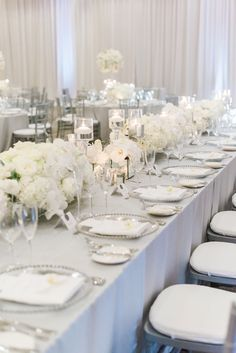 Silver Wedding Decorations For Tables Indoor - luxury glam wedding in silver and white Silver Wedding Decorations, Winter Wedding Centerpieces, Wedding Reception Tables, White Wedding Receptions, Reception Ideas, Ivory Wedding Decor, Elegant Wedding, Silver Weddings, Green Weddings