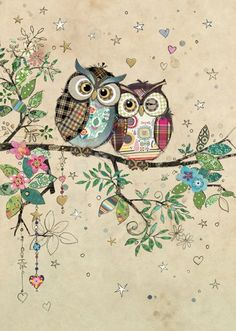 Owl Couple by Jane Crowther Owl Quilts, Animal Quilts, Baby Quilts, Bug Art, Owl Pictures, Owl Crafts, Pintura Country, Whimsical Art, Fabric Art