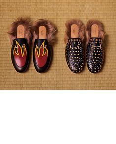 cf83ef90d4fe Women s plush Horsebit slippers from the  GucciFW16 collection