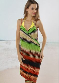 Green Geometric Front Cross Beach Cover ups for Resort