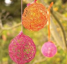 Made out of Yarn and a balloon! Then you can hang them! nice party decorations!