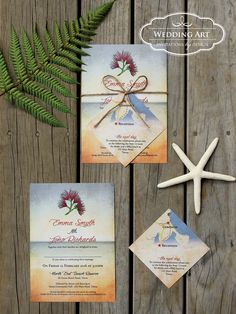 Rustic beach wedding invitations with twine and map/gift card insert www.weddingart.co.nz