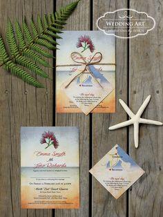 Rustic beach wedding invitations with twine and map/gift card insert www.weddingart.co.nz