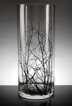 Birch Tree Branch Silhouette  6x14  Glass Cylinder Vases $12 each / 3 for $11 each...I want some of these