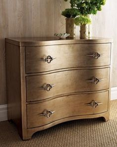 I love how soft and luminous this gold dresser is